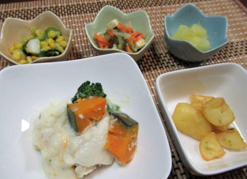 食宅便・鶏肉とかぼちゃのグリル豆乳ソース盛り付け