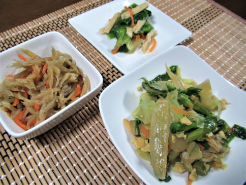 わんまいる健康ディナー「国産あさりとキャベツと菜の花の炒め物」