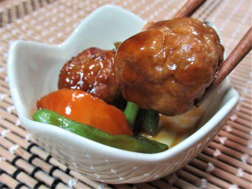 ワタミの宅食・肉団子と野菜の黒酢和え
