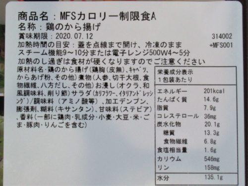 メディカルフードサービス・鶏のから揚げ成分表