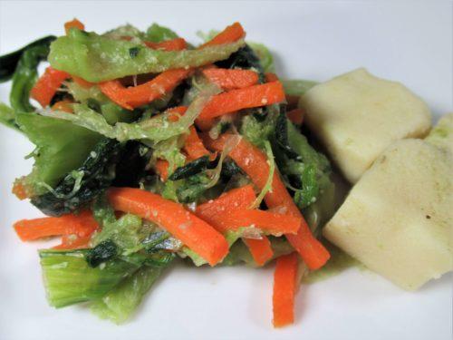 健康三彩・高野豆腐とチンゲン菜のごま和え